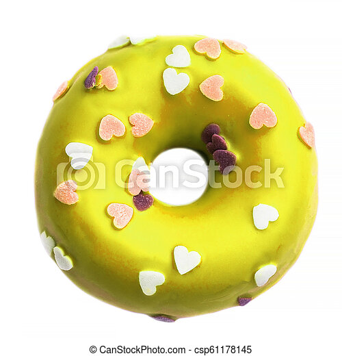 Yellow Donut with sprinkles isolated on white background - csp61178145