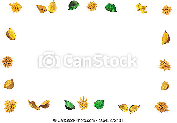 Yellow dried flowers, plants border frame on white background. Top view, flat lay. - csp45272481