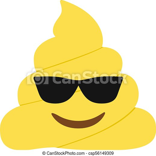 Yellow dung smiley face with black sunglasses flat icon - csp56149309