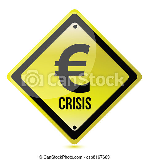 yellow euro crisis sign - csp8167663