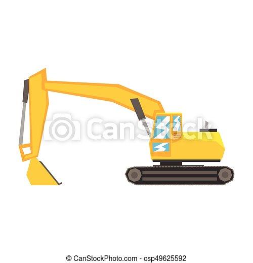 Yellow Excavator Heavy Industrial Machinery Construction Equipment Vector Illustration