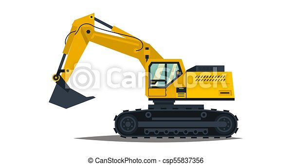 Isolated On White Background Special Equipment Construction Machinery Vector
