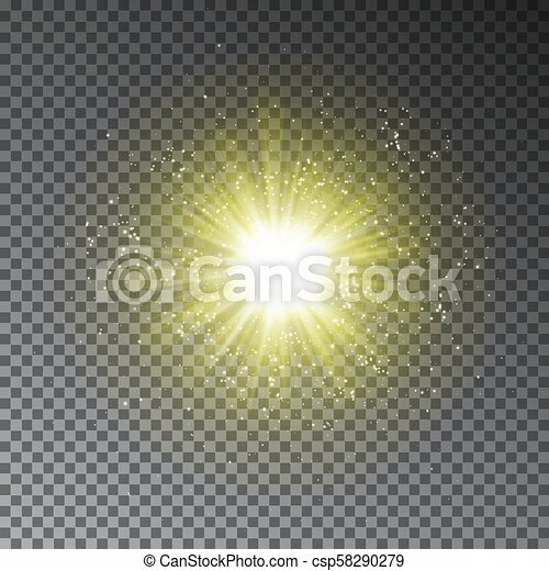 Yellow explode effect  Glowing transparent light glitter effect isolated on  dark background  Magic