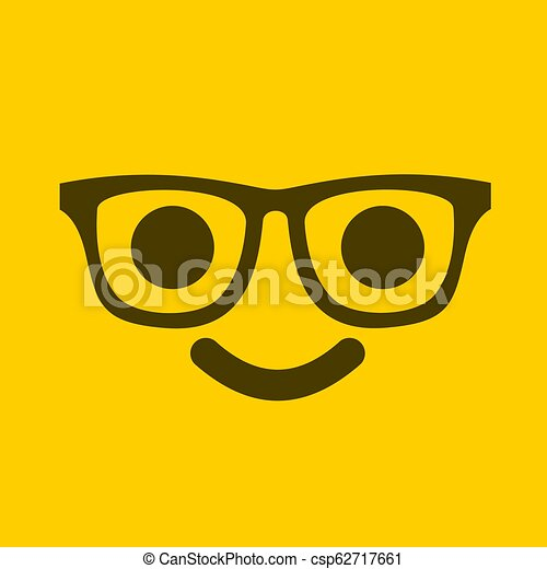 yellow face with glasses - csp62717661