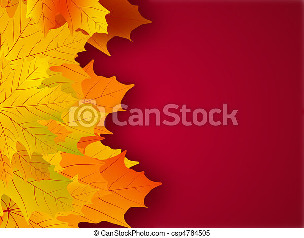 Yellow fall leaves on a red background. - csp4784505