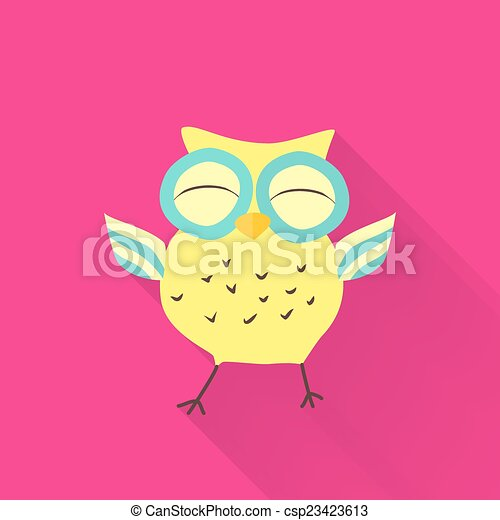 Yellow flat owl over pink - csp23423613