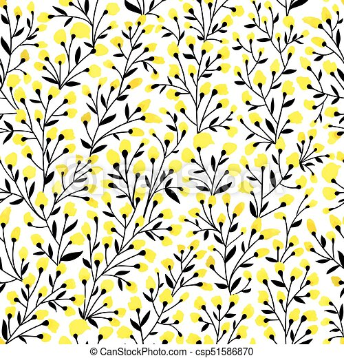 Yellow Floral Pattern Floral Seamless Pattern Design Branch With