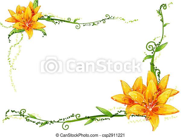 Drawing Of Yellow Flower And Vines In A White Background Canstock