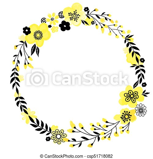 Yellow Flower Wreath Floral Decorativ Frame Yellow Flowers