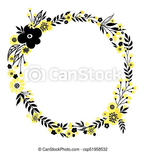 Yellow flower wreath floral decorativ frame yellow flowers yellow flower wreath csp51958532 mightylinksfo