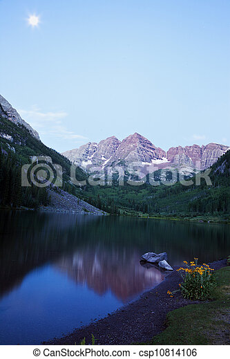 Yellow Flowers and Maroon Bells in the background. Seen before the sunrise. - csp10814106