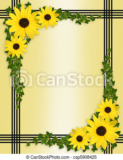 yellow flowers border image and illustration composition of yellow black eyed susan flowers border on satin like texture for https www canstockphoto com yellow flowers border 5908425 html