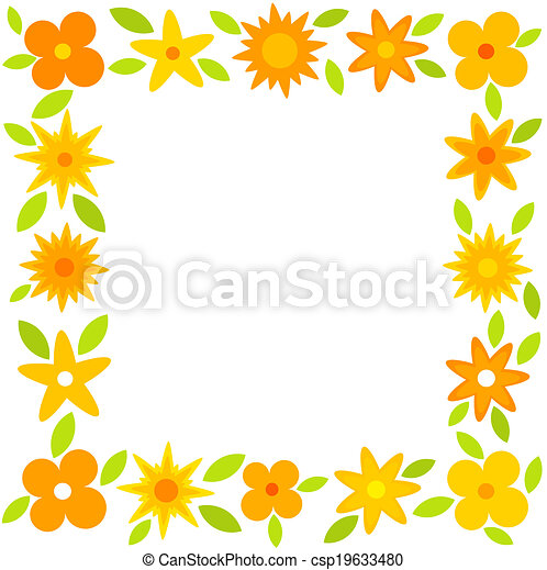 Yellow Flowers Frame Yellow And Orange Flowers Border Vector