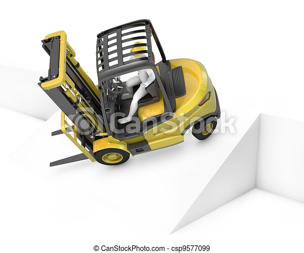 Yellow fork lift truck falling after turning on slope - csp9577099
