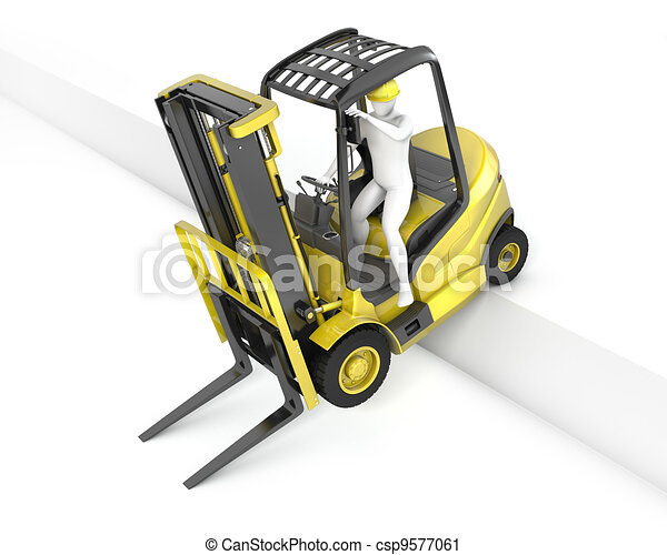 Yellow fork lift truck stuck after falling from ramp - csp9577061