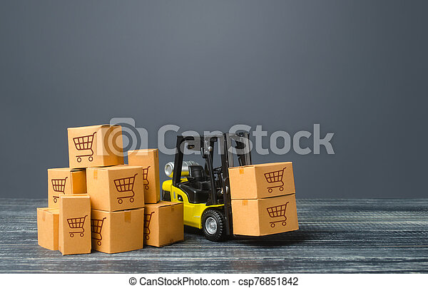 Yellow Forklift truck and boxes of goods. Transportation logistics infrastructure, import and export products delivery. Production, transport, cargo storage. Freight shipping. retail and supply - csp76851842