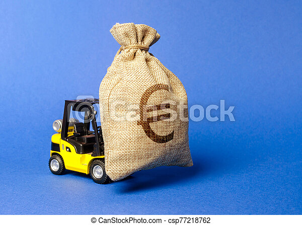 Yellow forklift truck carries a bag of euro money. Attracting investment in development, modernization of production and business. capital migration. Revenue, profit, liquidity. - csp77218762