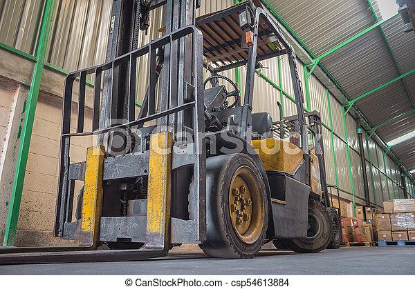Yellow Forklift Truck - csp54613884