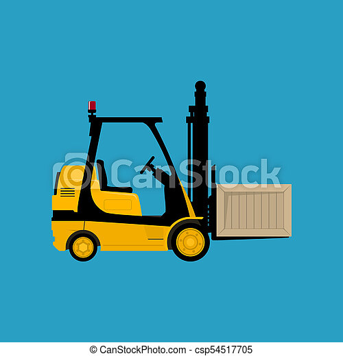 Yellow Forklift Truck with a Box - csp54517705