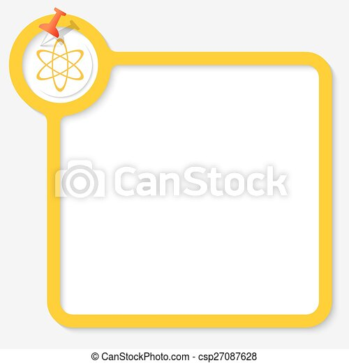 Yellow frame for your text and science icon.