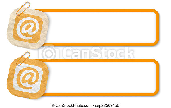 yellow frames with texture crumpled paper and email icon - csp22569458