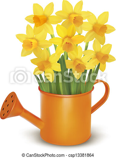 Yellow fresh spring flowers in green watering can vector illustration yellow fresh spring flowers csp13381864 mightylinksfo