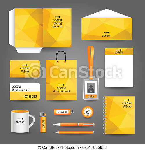 yellow geometric technology business stationery template for