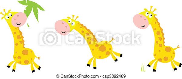 Yellow giraffe in 3 poses - csp3892469