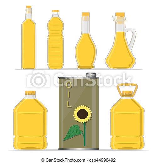 yellow glass bottle Sunflower Oil - csp44996492