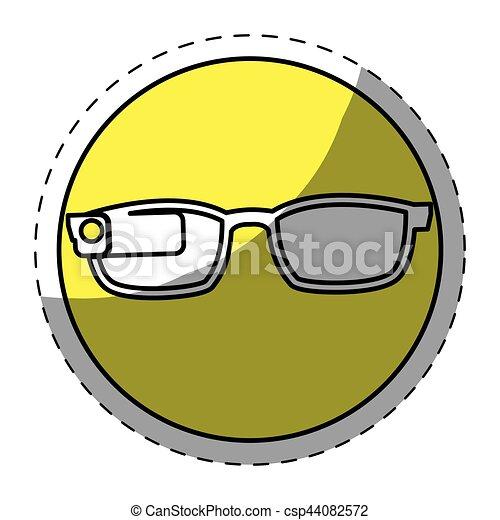 Yellow glasses button signal icon - csp44082572