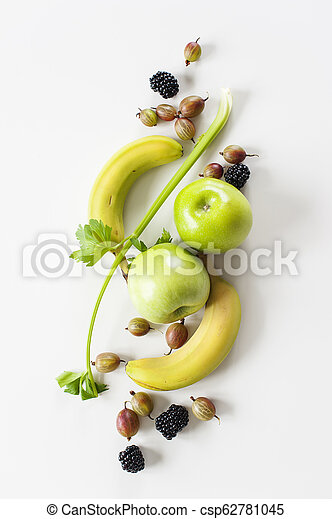 Yellow green fruit on a white background - csp62781045