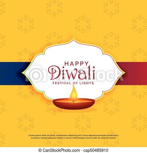 Yellow happy diwali greeting card design with diya yellow happy diwali greeting card design with diya csp50485910 m4hsunfo