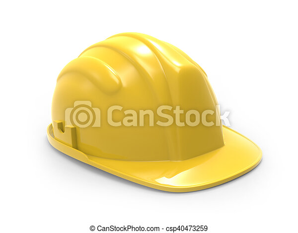 yellow hard hat 3d illustration - csp40473259
