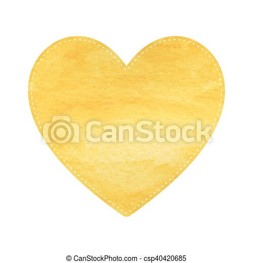 Yellow heart on white background.