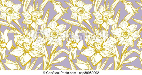 Yellow Illuminating silhouettes of flowers Daffodils on Pastel Color Background. - csp89980992