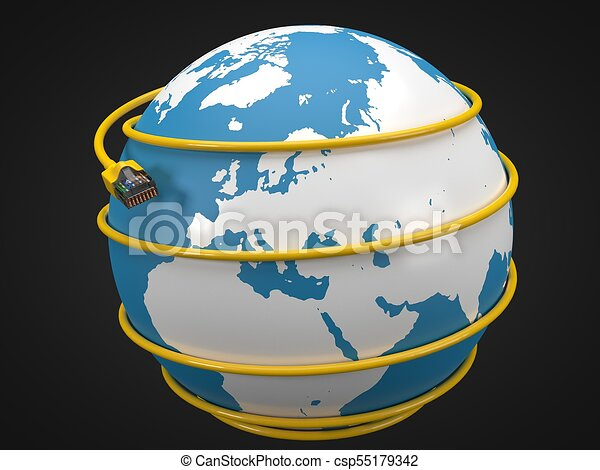 Yellow internet cable around earth. conceptual 3d illustration of ...