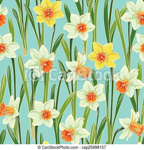 Yellow jonquil daffodil narcissus seamless pattern - csp25998157