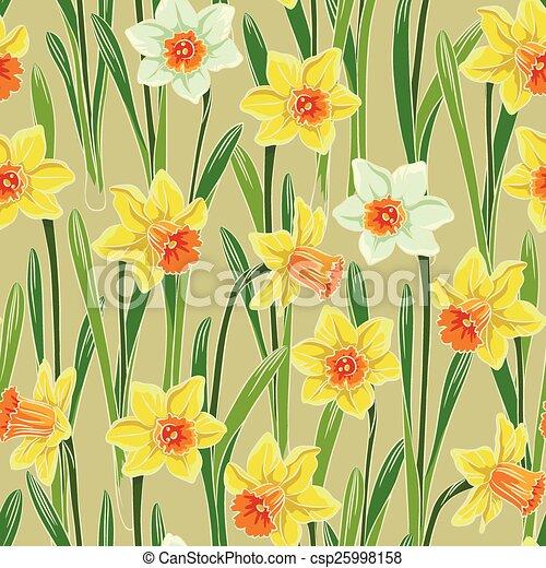 Yellow jonquil daffodil narcissus seamless pattern - csp25998158