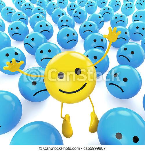 yellow jumping smiley between sad blues - csp5999907