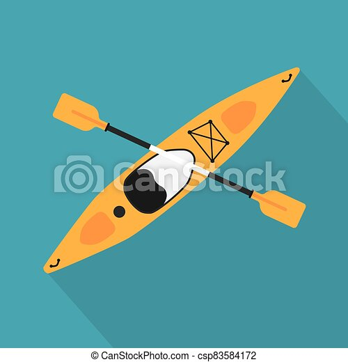 yellow kayak with oar icon- vector illustration - csp83584172