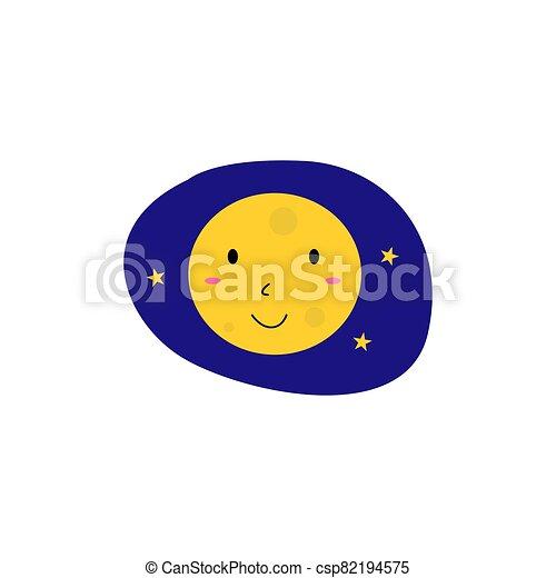 Yellow Kids smiling Moon, on blue - csp82194575