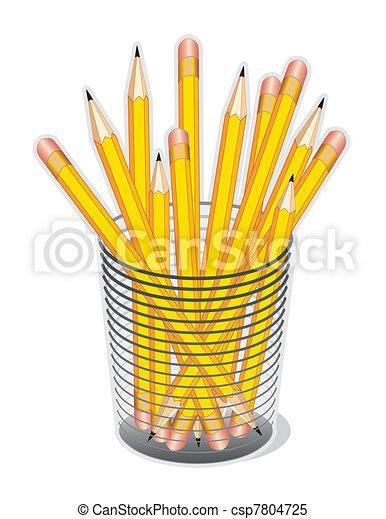 standard yellow lead pencils with erasers in a desk clipart rh canstockphoto co uk pencil clipart no background pencil clip art free