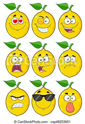 Yellow Lemon Fruit Cartoon Emoji Face Character Set 1 Collection