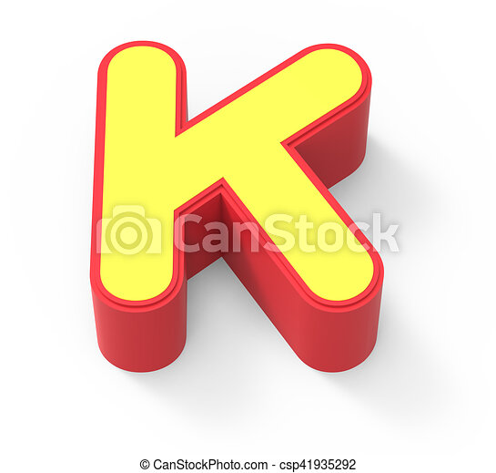 Red Framed Yellow Letter K 3d Rendering Graphic Isolated On White Background Top View Canstock
