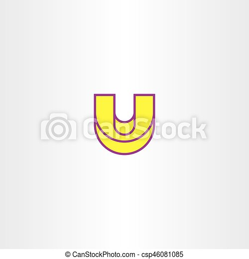 yellow letter u vector icon element sign shape