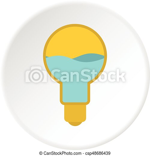 Yellow light bulb with blue water inside icon - csp48686439
