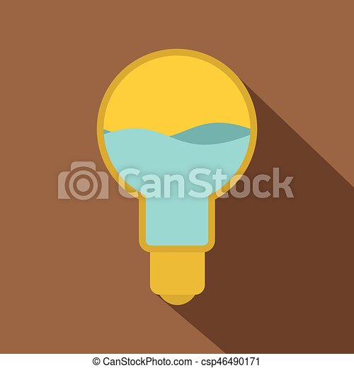 Yellow light bulb with blue water inside icon - csp46490171