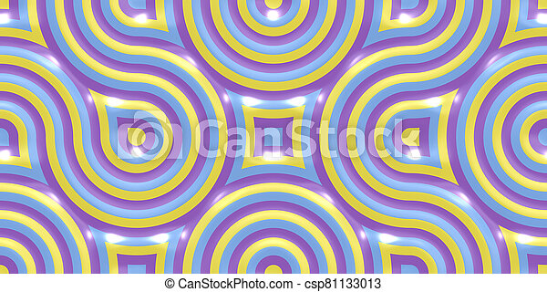 Yellow Lilac Violet Seamless Truchet Tilling Background. Geometric Mosaic Connections Texture. Tile Circles Labyrinth Backdrop. - csp81133013