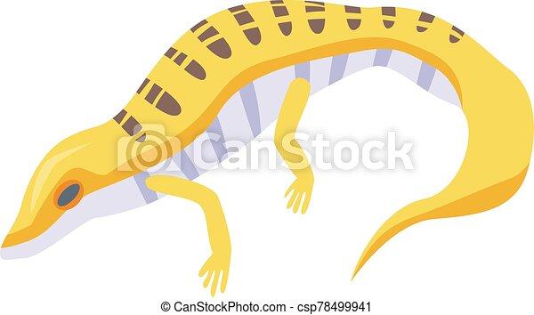 Yellow lizard icon, isometric style - csp78499941