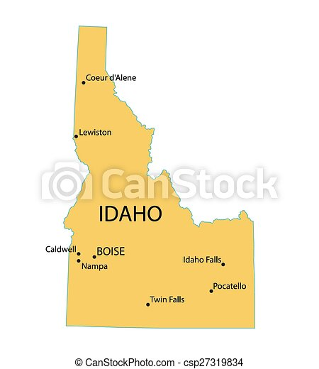 yellow map of Idaho with indication of largest cities on map of idaho mountains, map texas with cities, map of idaho gold mines, map of idaho and montana, map of arizona cities, iowa map with cities, map of northern idaho cities and towns, map of idaho roads, all idaho cities, map of idaho and oregon, map of washington cities, map of idaho fires, idaho state cities, map of california cities, map of idaho ski resorts, map of idaho state parks, map of twin falls idaho city limits, alaska map with cities, map of idaho rivers, map ohio with cities,
